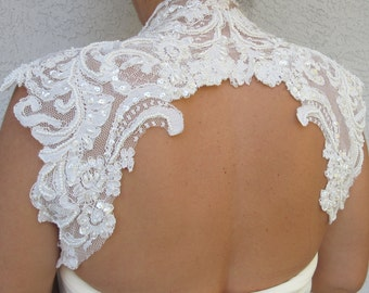 Wedding Bridal Ivory Beaded Lace Keyhole Back Bolero Shrug Jacket. Made to order.
