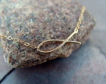 GOLD, Ichthus, Fish, necklace, Gold filled wire, Christian, gift, baptism