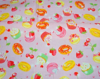 """Japanese fabric Macaron Cupcakes and cherries  print  50 cm by 53  cm or 19.6"""" by 21"""" nc12"""