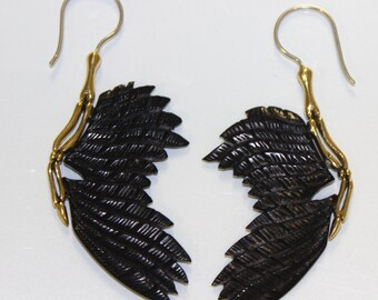 Fake Gauge Earrings ,Organic, Black Horn , Fancy ,Tribal style,hand carved,organic,naturally,faux gaugge