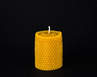 Pure Beeswax Small Pillar Candle - Honeycomb Design - 2 in. x 3 in. tall