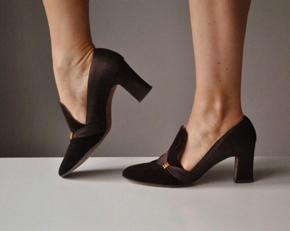 1950s Chocolate Velvet & Satin Heels~Size 6