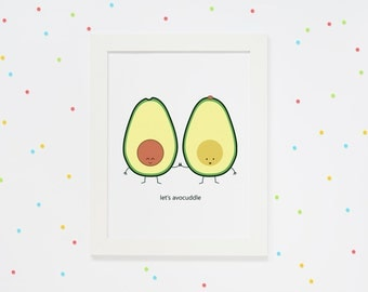 Let's Avocuddle - PRINT funny cute cartoon pun avocado cuddle birthday anytime anniversary