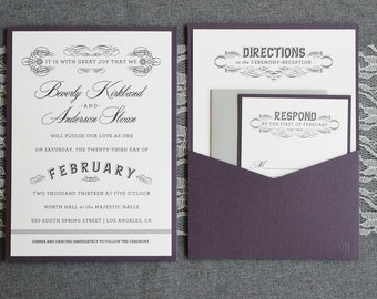 Purple Wedding Invitation, Gray Pocket Wedding Invitation, Art Deco Vintage Wedding Invitation - Custom Invitation - Beverly and Anderson
