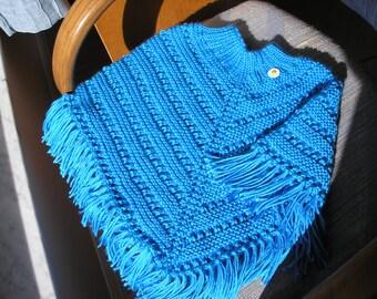 Knitted Poncho, Girls Medium - Bright Blue