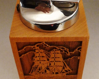 Lighter SAILING SHIP RONSON  signed  W Germany Table top Laser Engraved Great Condition 8 in tall 2 3/4 in diam