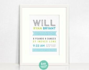 Fun & Modern Typography Birth Announcement Print