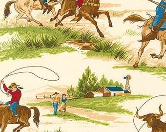 FABRIC Ride em COWBOY in Ecru Western Ranch 1/2 yard