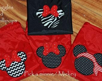 Girls boys custom personalized  backpack cinch sak  disney minnie mouse mickey mouse chevron