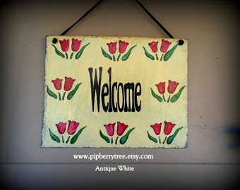 Tulip Border Hand Painted Decorative Welcome 7 x 9 Slate Sign