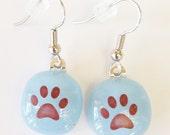 Paw earrings // paw fused glass earrings // powder blue // puppy earrings // kitty earrings // pawprint earrings