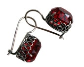 Vintage Russian Dark Red Garnet Crystal Glass Earrings Silver Plated
