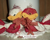 Handmade Love Birds created from a Patti's Ratties Patter OOAK
