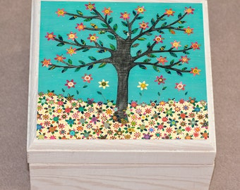 Turquoise Flower Tree Jewelry Box, Wooden Trinket Box