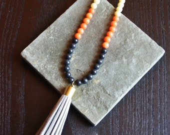 Tassel necklace, color block necklace, grey tassel necklace, navy blue necklace, orange necklace, color blocking jewelry, long necklace
