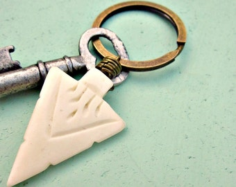 Rustic Brass Keyring or Purse Charm with Bleached Bone Accent: Trail