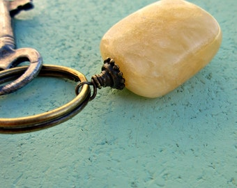 Rustic Brass Keyring or Purse Charm with Stone Accent: Buttercup