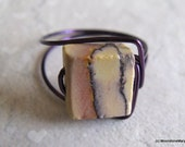 Porcelain Jasper Ring Modern Assymetrical Purple Geometric Wire Wrap