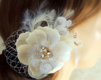 bridal hair flower wedding Champagne hair flower  Wedding headpiece Wedding Bridal hair piece Champagne Ivory hair flower