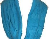 Hemp and Organic Cotton Lightweight Jersey Knit Turquoise Infinity Scarf
