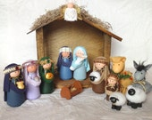 Deluxe Nativity Set - 14 Pieces Including Handcrafted Stable Handmade Nativity Sets