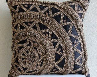 "Handmade Black Throw Pillows Cover, 16""x16"" Silk Throw Pillows Cover, Square  3D Jute Wheel Pillows Cover - Jute Rebel"