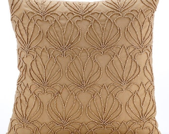 """Handmade Gold Decorative Pillows Cover, 16""""x16"""" Taffeta Pillows Cover, Square  Beaded Lotus Pattern Pillows Cover - Gold Jardin"""