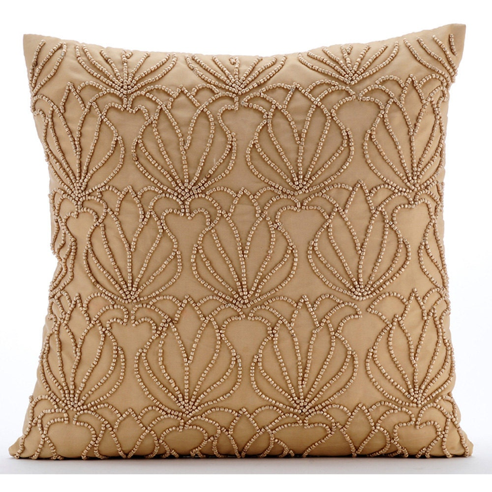 Small Decorative Bed Pillows : Handmade Gold Decorative Pillows Cover Beaded Lotus Pattern