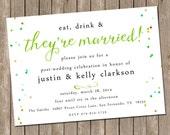 Wedding Brunch Invitation - bridesmaids luncheon invitation - Wedding Party - Digital file - Printable or PRINTED - Confetti - Post Wedding