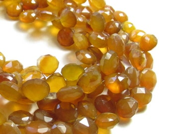 Honey Gold Chalcedony Briolette 12mm Beads,  8 Inches Many Possible Pairs 12mm 13mm