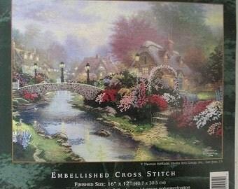 Thomas Kinkade Cross Stitch Kit Lamplight Bridge No. 5092