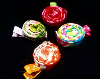Rolled Fabric Flower Hair Clip Set, Infant Toddler Girl Hair Clip Set, Rosette Hair Clip Set, Handmade by Groovy Gurlz