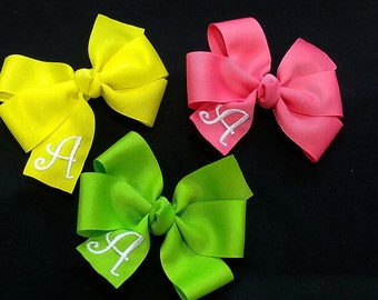 Hair Bow - Personalized Bow - Monogrammed Hair Bow - Groovy Gurlz