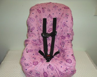 Pink western toddler car seat cover