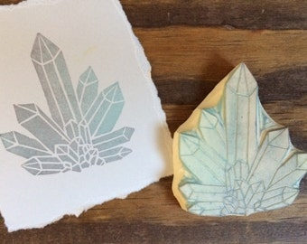 Crystal Formation Hand Carved Rubber Stamp