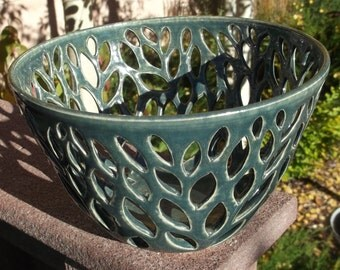 Green Hand Carved Pottery Bowl with Leaf Design