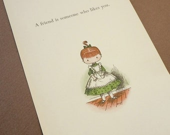 vintage illustration Joan Walsh Anglund A Friend is Someone Who Likes You . vintage book page . nursery wall decor . paper ephemera