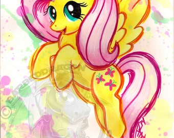 Fluttershy Giclee Print My Little Pony Watercolor All Sizes Friendship is Magic G4 FIM