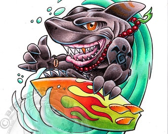 Hang Ten Tiger Giclee Print Watercolor All Sizes
