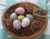 6 Painted Grungy Paper Mache Eggs Egg Easter Spring Pastel Grass  Tag