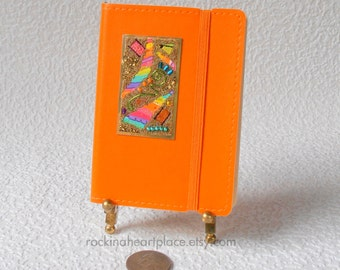 Decorated Notebook in orange with Micro-bead Collage in rainbow colors