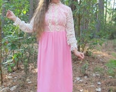 60% OFF 60s Victorian Bohemian Lace Gown
