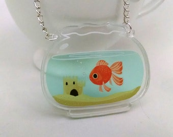 Fishbowl clear acrylic charm necklace