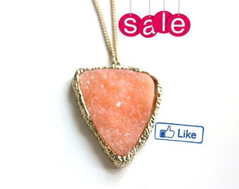 SALE Fall ~ Druzy salmon pendant  - custom length regular price 36.00