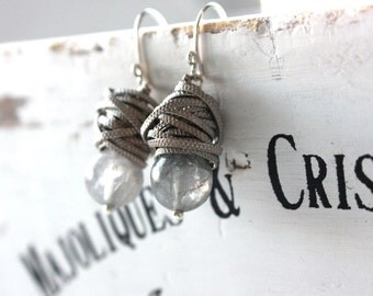 The Grey with silver - fresh earrings with big Cloudy Quartz and silver textured wire
