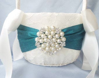 Ivory Teal Flower Girl Basket Flower Girl Basket Pearl Rhinestone Accent Wedding Basket Unique