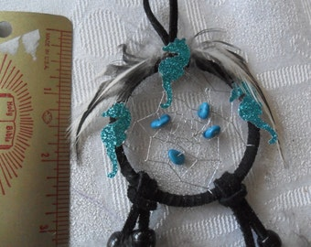 HANDMADE Black Dream Catcher w/Real Turquoise stones and Black/white feathers