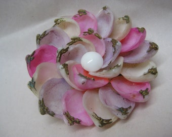 Flower Pink White Brooch Shell Lavender Pin Vintage