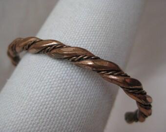 Copper Twisted Bracelet Cuff Vintage