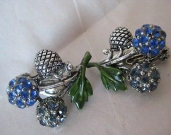 Flower Blue Sapphire Silver Rhinestone Earrings Clip Vintage